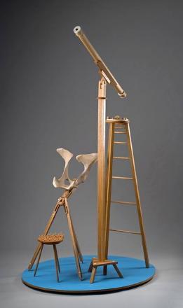 Johnson, Carla Rae. (2014). Georgia O'Keeffe Meets Galileo Galilei. Sculpture. Oak, bone, plywood. 90x54x41 in. Photograph by Howard Goodman.