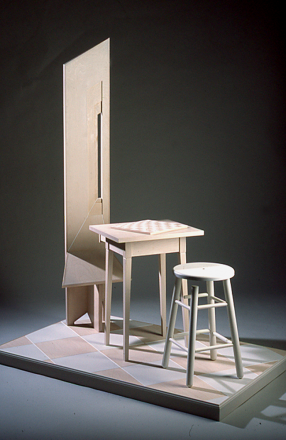 Johnson, Carla Rae. (2001). Emily Dickson Meets Marcel Duchamp. Sculpture. Wood. 75x60x36 in. Photograph by Howard Goodman.