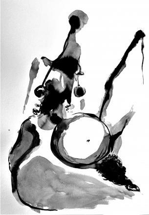 Bardakos, J. (2020). Figurative Formaform 06.  Chinese Ink on 270gr Langton paper and bio-digital consciousness.  42 x 59.6 cm