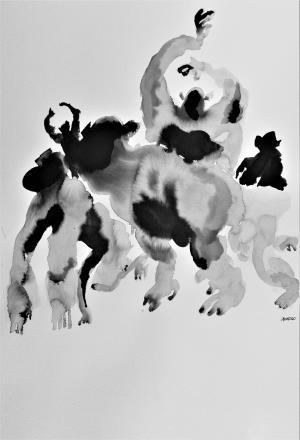 Bardakos, J. (2020). Figurative Transformations #5g. Chinese Ink on 270gr Langton paper and bio-digital consciousness.  42 x 59.6 cm
