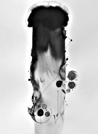 Bardakos, J. (2020). Marked (Semantic) Formaform.  Chinese Ink on 270gr Langton paper and bio-digital consciousness.  42 x 59.6 cm
