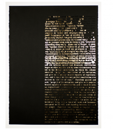 Ruff, D. (2019). Corruption. Federalist Papers series. Laser cut stonehenge paper, gold leaf. 30 x 22 inches. Reproduced text from original Federalist Papers; text from Thomas Jefferson's Anas, describing an incident with Alexander Hamilton.