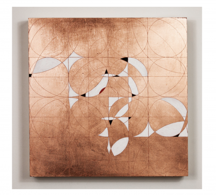Ruff, D. (2019). Kovil. Burning and gilding: Copper leaf paintings series. Flashe on copper leaf on panel. 12 x 12 inches.