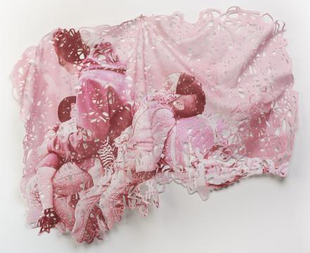 Ruff, D. (2019). La Prensa 2 (pink). Caravana Textile Works series. Dye sublimation print on felt, ink. 47 x 62 inches.